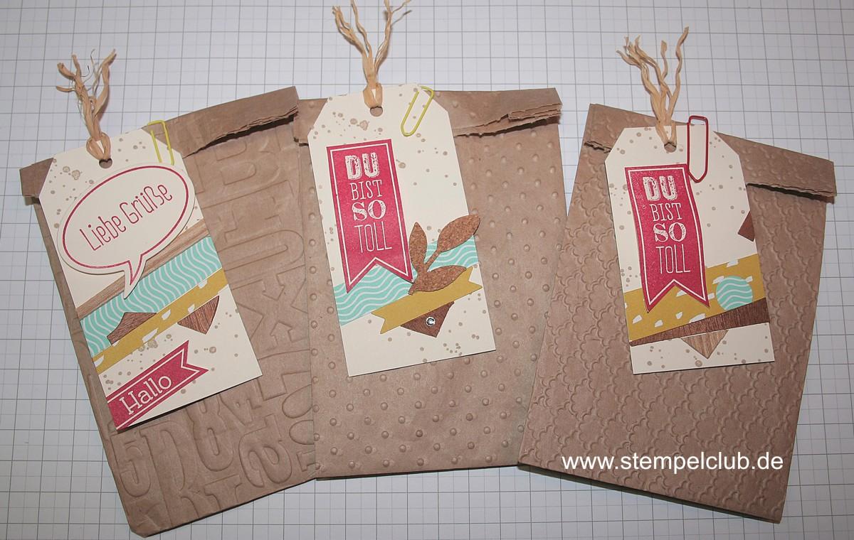 Lunchbag, Brottüten aus Packpapier von Stampin' Up! Paketen. Ihr könnt auch Natron- oder Kraftpapier verwenden.
