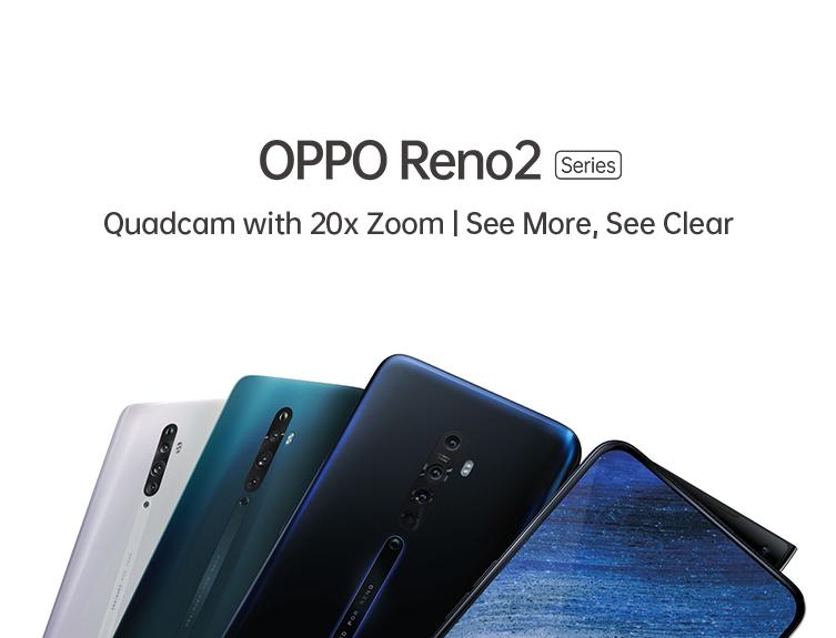 OPPO Reno Series QuadCam 20x Zoom Shark Fin Front Selfie Camera Premium sleek design smartphone