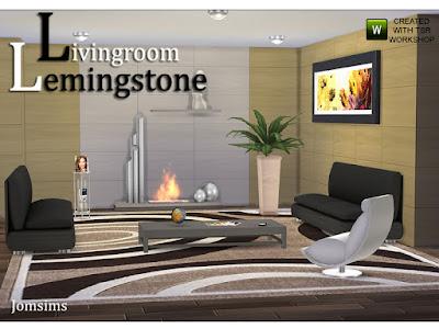 Living Room Lemingstone Гостиная Lemingstone.purity для The Sims 4 Гостиная Lemingstone.purity одной линии или смешанного дерева и железа. Очень современный стиль. диван в 4 цветовых вариациях. коврик большой 4 разных стиля.1 живой стул очень блестящий 2 варианта цвета. железо аудио hifi для пола или стола.1 стена retrolux дерево в цвет сладкого дерева античный белый. 1 каминная текстура дерева и железа. Дизайн линии с 1 полкой для украшений. 1 очень низкий журнальный столик в 3 цветовых вариациях с декоративными предметами. 4 разные картины очень большие. 1 железный потолочный светильник. 1 этаж растение текстуры дерева для горшка. Автор: jomsims