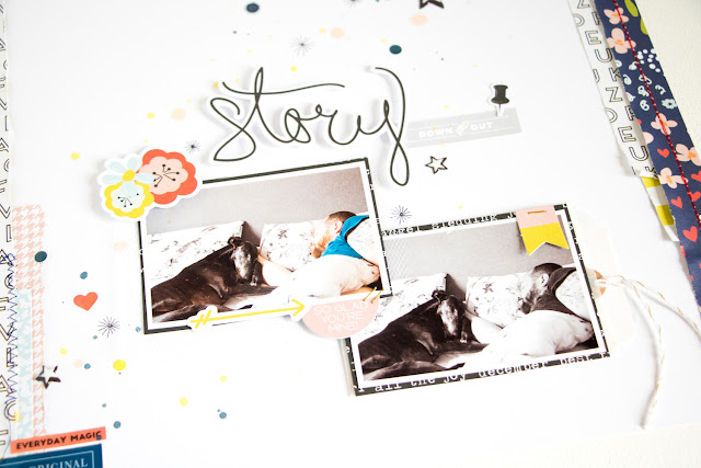 Story Scrapbooking Layout by ScatteredConfetti. // #citrustwistkits #fancypants #sundaysketch