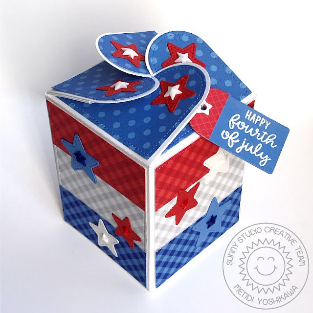 Sunny Studio Stamps: Fourth of July Red, White & Blue Patriotic Star Treat Box (using Wrap Around Box dies & Classic Gingham 6x6 Paper)