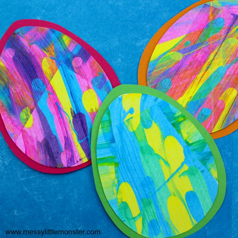 Easter crafts for preschoolers - scrape painting easter egg craft