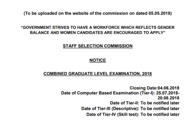 [Notice] SSC CGL 2018 Official Notification - PDF(High Speed Download) - SSC Officer