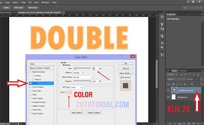 Tutorial Membuat Double Garis Outline di Photoshop (Garis Ganda) Tulisan - Stroke