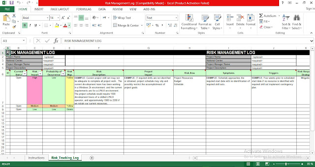 Risk Management Log Template Excel - Free Download