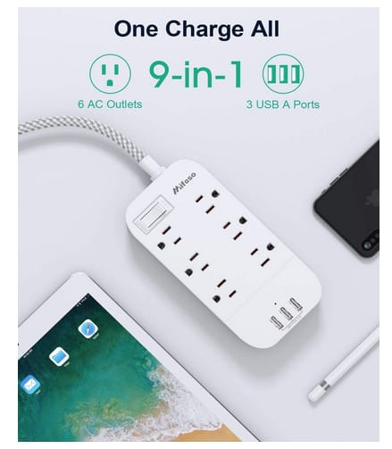 Mifaso 6 Outlets 3 USB Charging Ports Power Strip