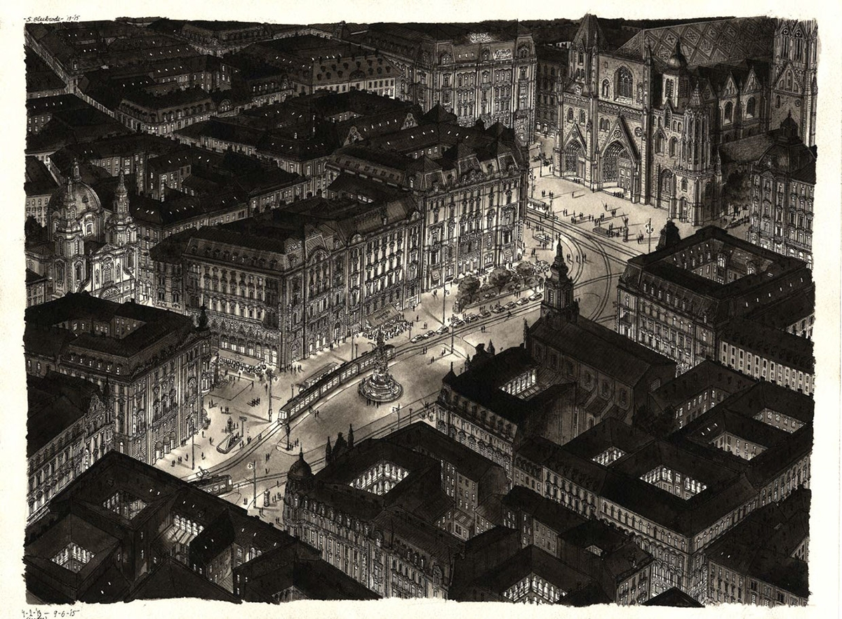 18-Vienna-at-Night-Stefan-Bleekrode-Detailed-Architectural-Drawing-from-the-Imagination-www-designstack-co