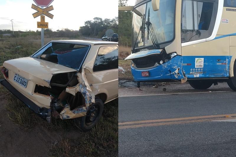 Mais um acidente na BR-030 próximo à Vila de Catiboaba; desta feita envolvendo um ônibus da Novo Horizonte