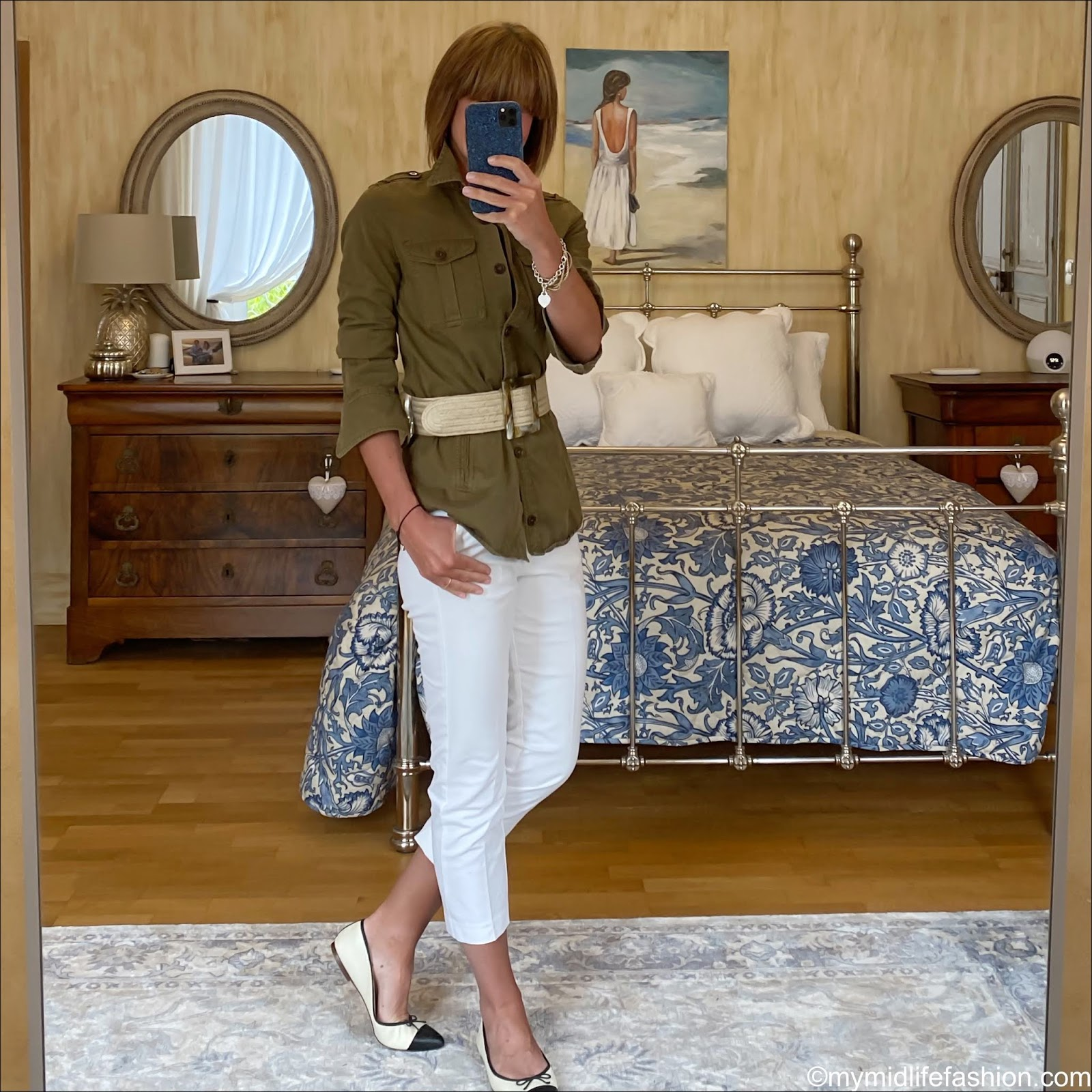 my midlife fashion, Isabel Marant Etoile overshirt, zara jute waist belt, marks and Spencer capri cropped trousers, j crew two tone pointed ballet pumps