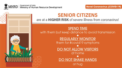 Indian advice for older people with cartoon drawing of elderly figure chilling at a window