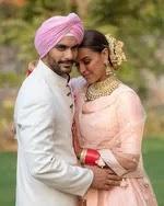 Neha Dhupia with her husband