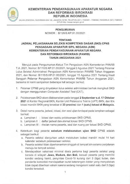 Jadwal dan lokasi Seleksi Kompetensi Dasar (SKD) CASN CPNS 2021 beserta syaratnya