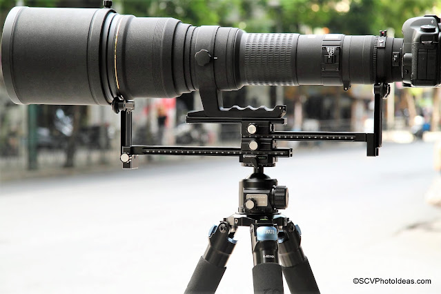 Sunwayfoto YLS-G3 assembly A with extra Dual Subtend clamp and Sigma lens/camera full view