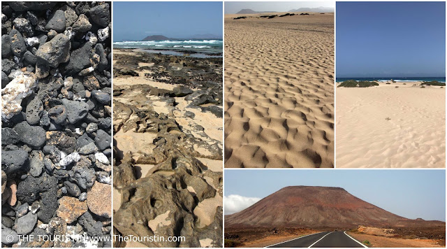 Stones. Rock formations. Dunes. A red volcano at the end of a tarred road.