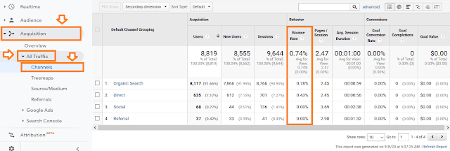 How to check bounce rate of website in Google Analytics