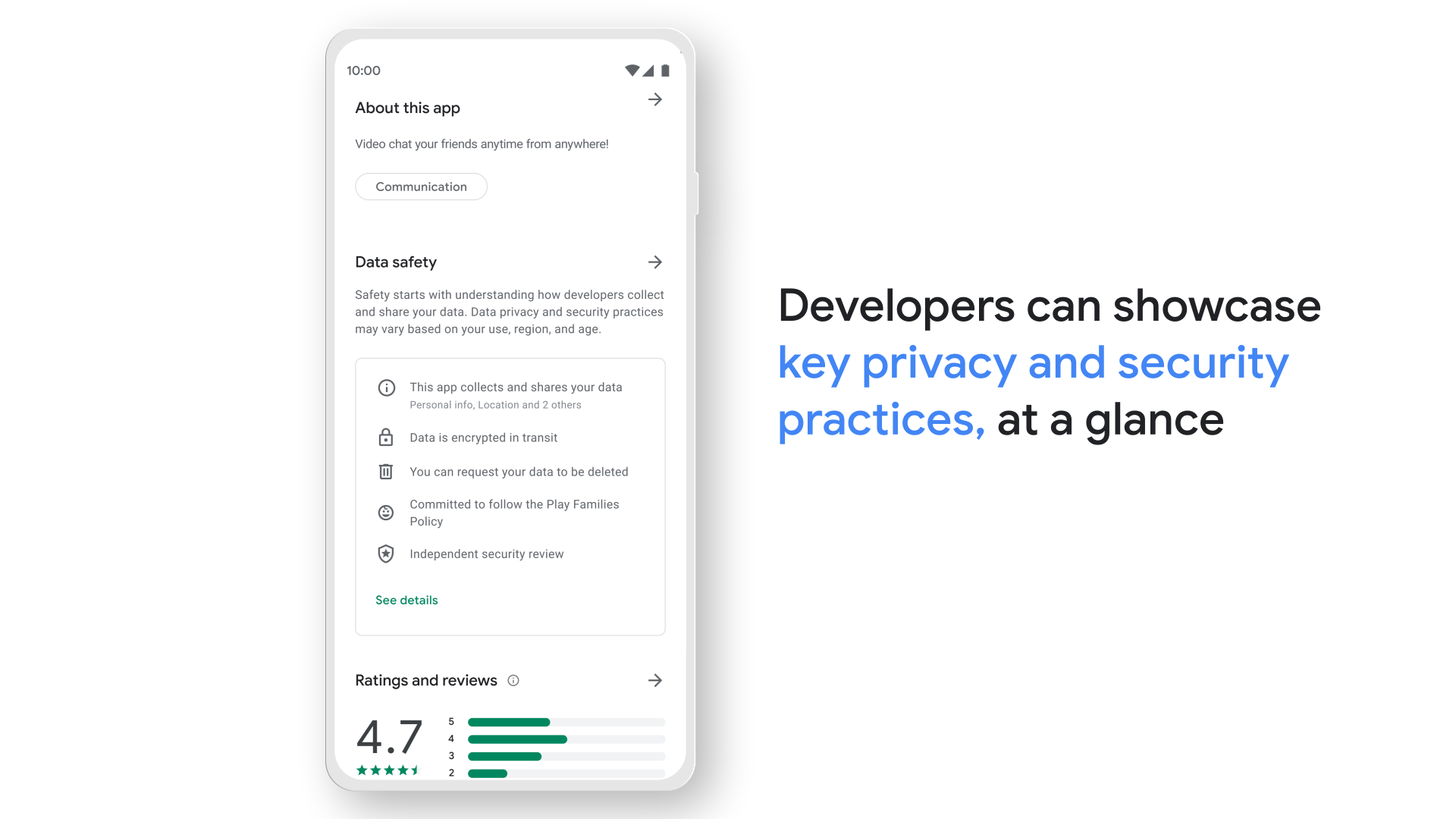 Image of app store data privacy and security section. Text reads Developers can showcase key privacy and security practices at a glance