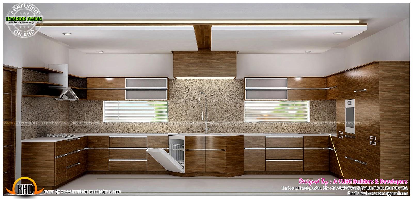 Master Bedrooms And Kitchen Interior Kerala Home Design