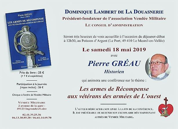 le 18 mai 2019 : invitation de PIERRE GREAU