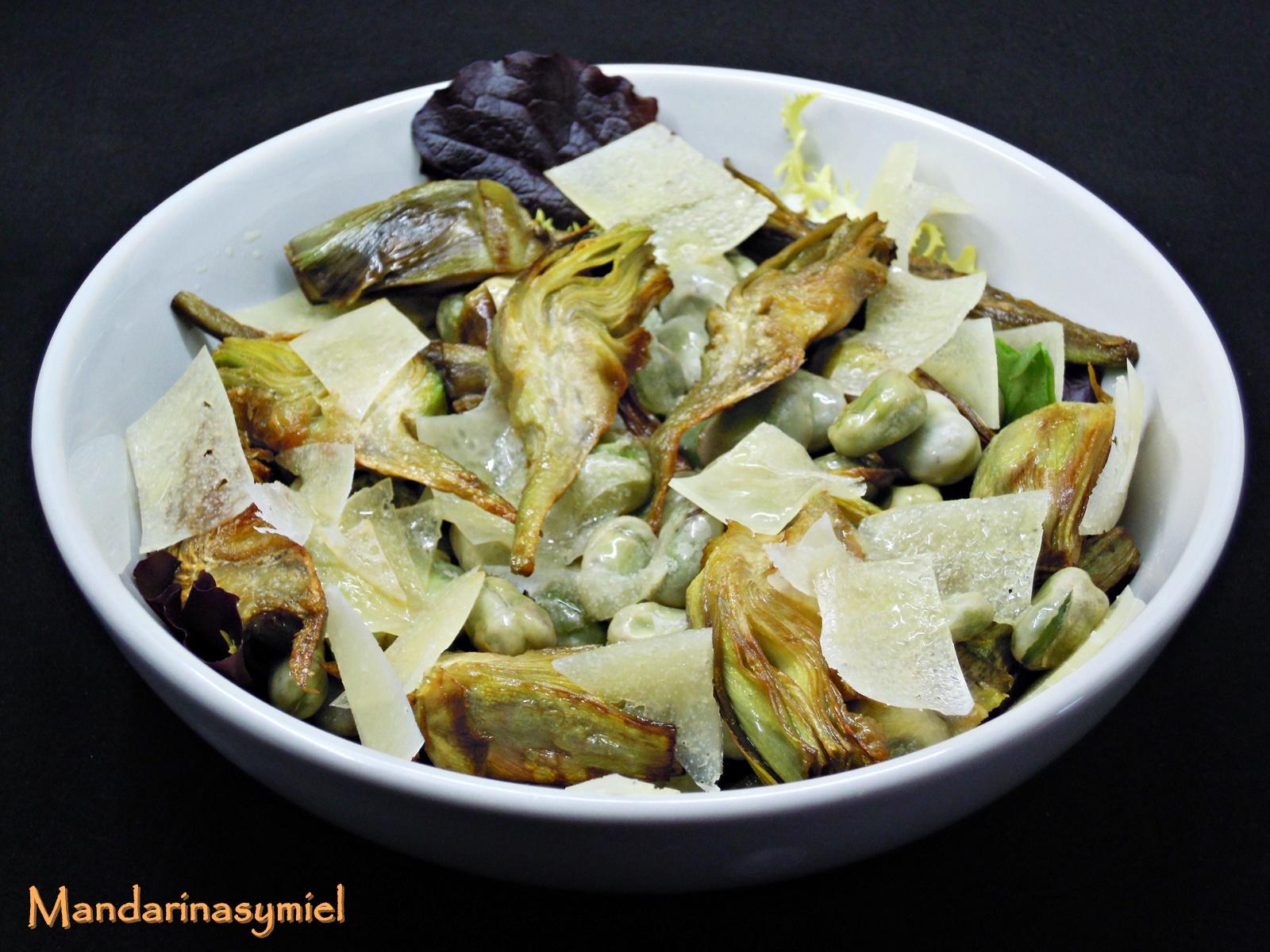Ensalada templada de alcachofas habitas y queso - Ensalada de habitas ...