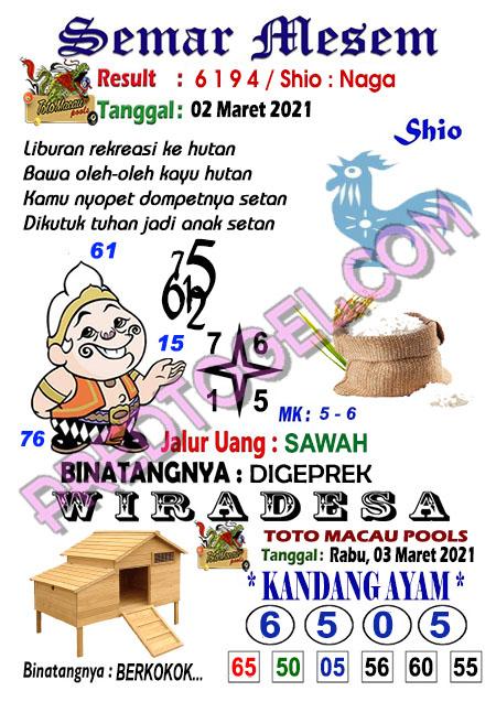 Syair Toto Macau Semar Mesem Rabu 03 Maret 2021