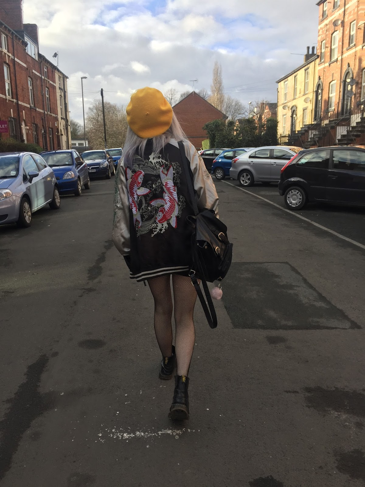 silver haired girl wearing sukajan, beret, fishnets and DMs