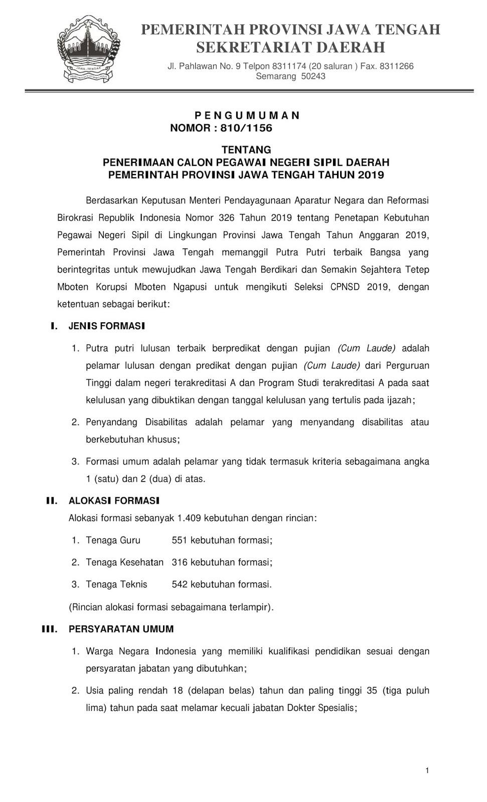 Lowongan CPNS Provinsi Jawa Tengah Tahun Anggaran 2019 [1.409 Formasi]
