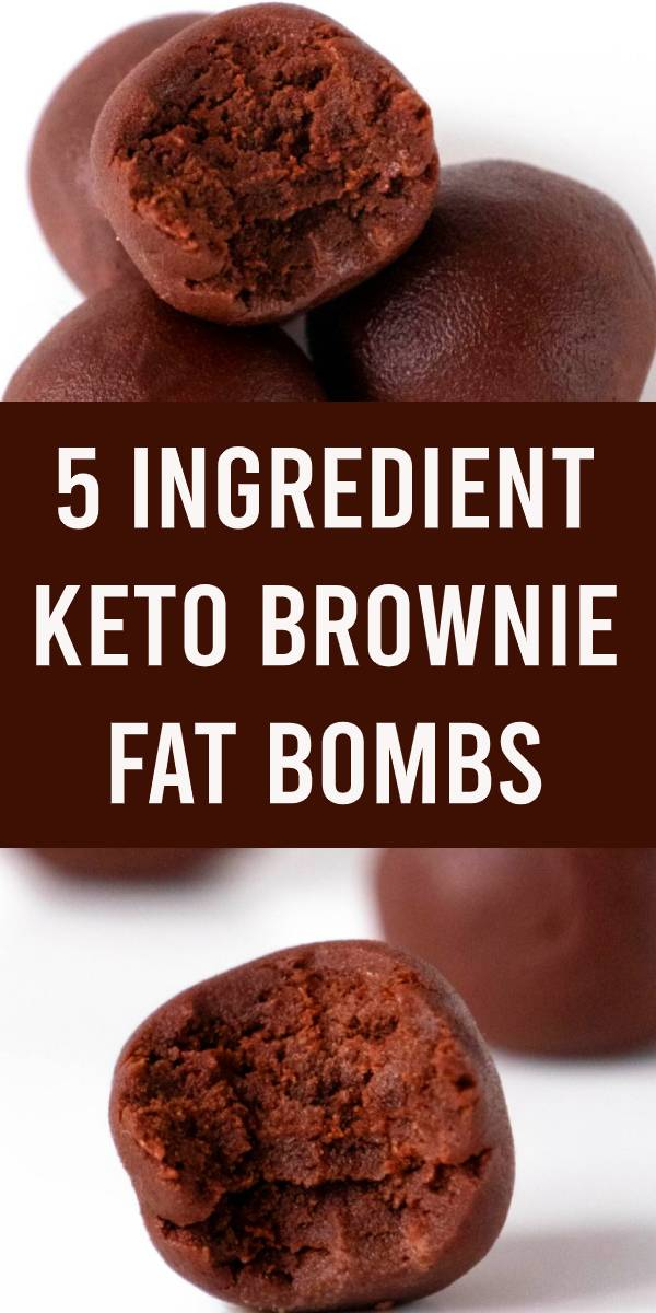 Keto Fat Bombs! Low carb 5 ingredient chocolate brownie fat bombs everyone loves. Mix up a few ingredients for this fudgy NO BAKE keto recipe. #brownie #chocolate #keto #lowcarb