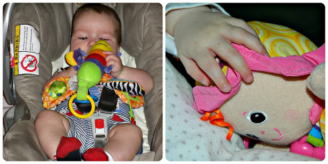 Bud and Little Miss with their Lamaze toys Freddie Firefly My Friend Emily
