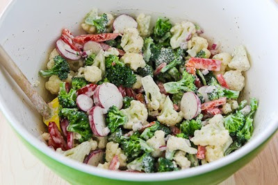 Barely Blanched Broccoli and Cauliflower Salad with Red Bell Pepper, Radishes, Red Onion, and Cashews found on KalynsKitchen.com