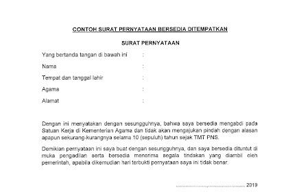 Format Surat Pernyataan Bersedia Ditempatkan untuk CPNS Kemenag 2019