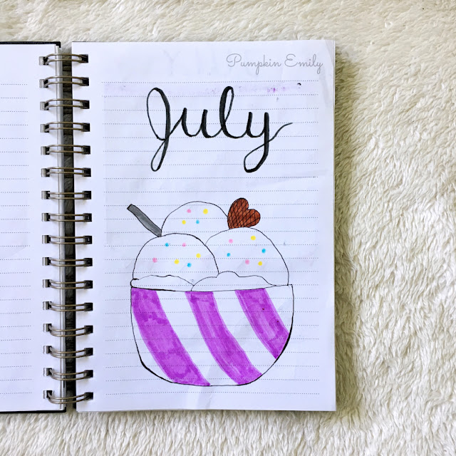 July 2019 bullet journal cover page