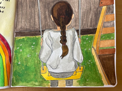 Watercolour painting of a child on a swing
