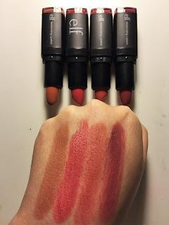 e.l.f. moisturizing lipstick in the nude ravishing rose marsala blush berry kiss swatches