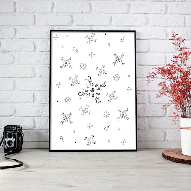 Floral Doodle Ink Pattern