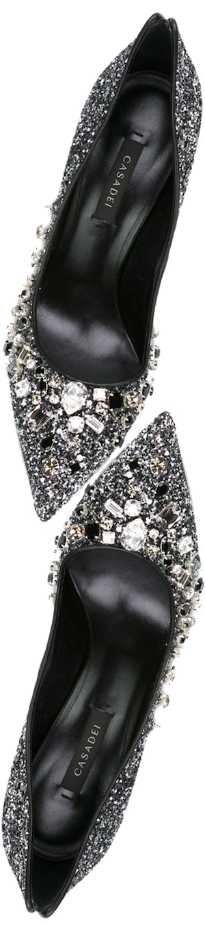 Casadei Embellished Glitter Pumps in Black