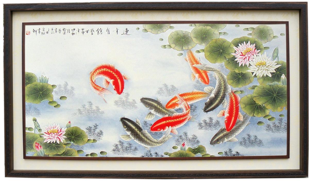 羅丹畫廊美術館: 荷花鯉魚畫,九如魚國畫(羅丹畫廊)精選手繪訂製品