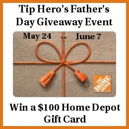 Enter to win a $100 Home Depot Gift Card thanks to Tip Hero. Ends 6/7/13.
