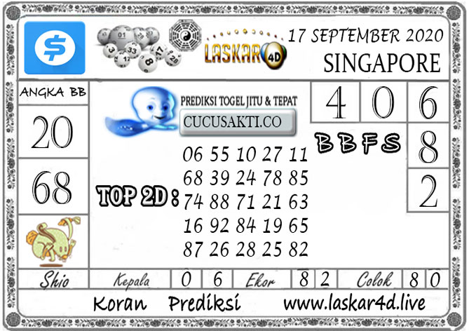 Prediksi Togel SINGAPORE LASKAR4D 17 SEPTEMBER 2020