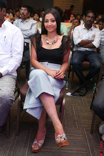 Swetha Basu in a Black Sleeveless Top Long Skirt at Mixture Potlam Movie Audio Launch 036.JPG