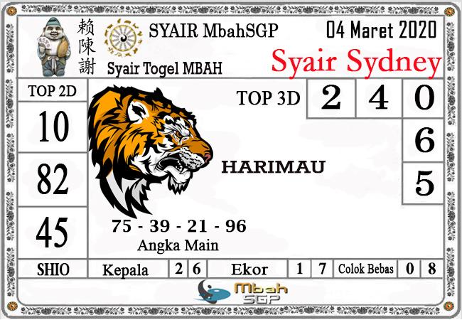 Prediksi Togel JP Sidney Rabu 04 Maret 2020 - Syair Mbah SGP