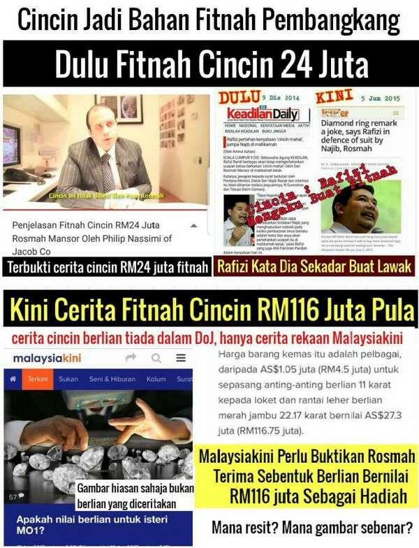 Malaysiakini Perlu Buktikan Rosmah Terima Hadiah Sebentuk Berlian Bernilai RM116 juta Sebagai Hadiah