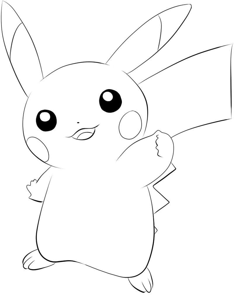 super cute baby pokemon pikachu coloring sheets easy to color