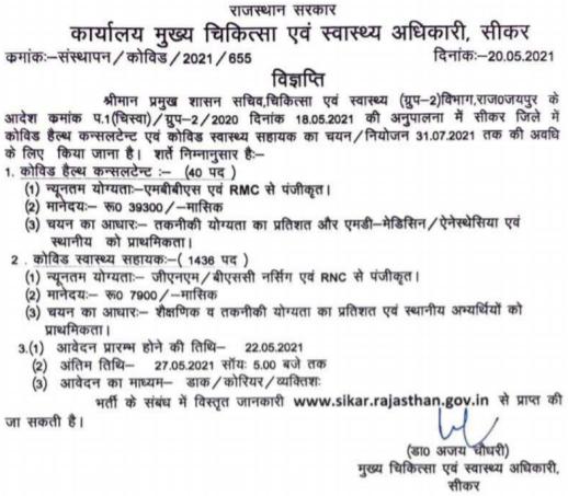 Sikar District CHA Recruitment 2021 Apply Offline