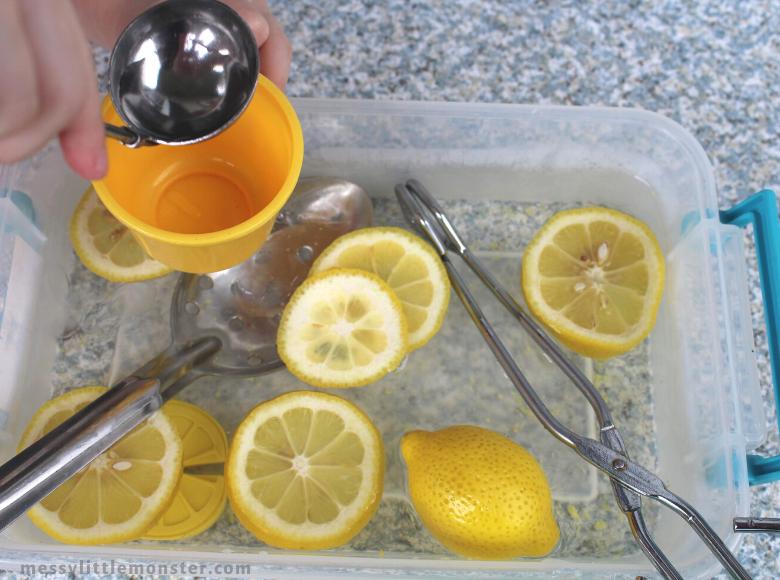 lemon sensory bin