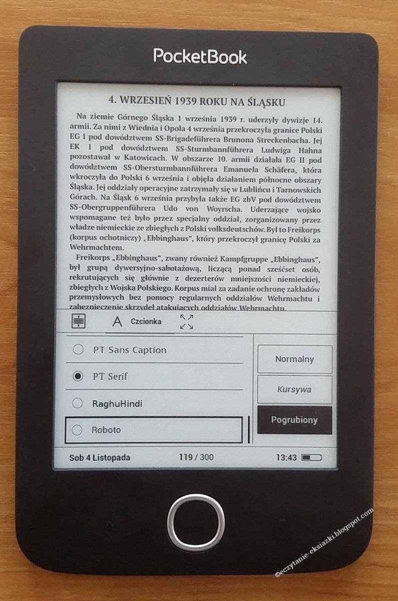 Menu wyboru kroju i wariantu czcionki w czytniku PocketBook Basic 3