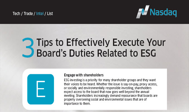 3 Tips to Effectively Execute Your Board's Duties Related to ESG
