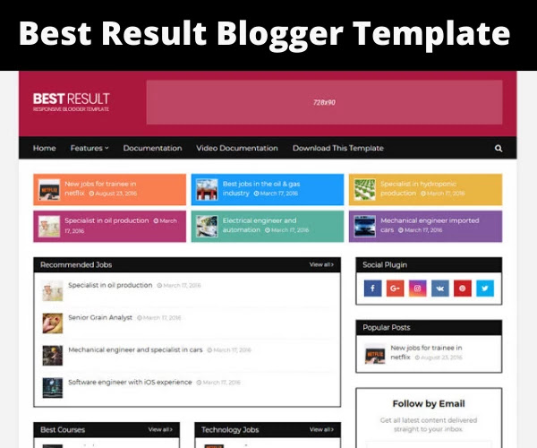 best result blogger template free download, best result theme 2020, free blogger theme for job website