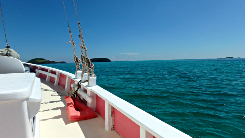 Sailing on the Pink Lady to the Tobago Cays in St Vincent and The Grenadines