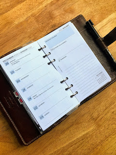 Filofax Malden with printed pages for WO1P with notes from Etsy