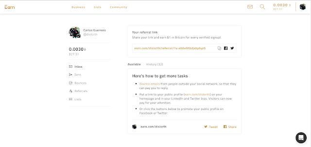 Gana Bitcoin gratis con Earn.com